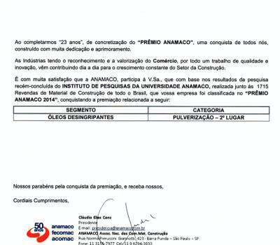 Orbi Química recebe o Prêmio Anamaco