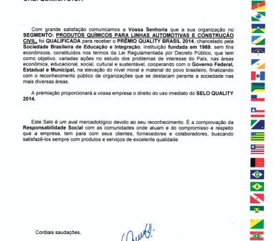 Orbi Química é qualificada para receber Prêmio Quality Brasil 2014